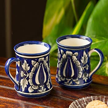 ExclusiveLane Floral Buddies Serving Tea Cups Set & Ceramic Coffee Mugs Set of 2 (260 ML, Ink Blue and White, Microwave & Dishwasher Safe)