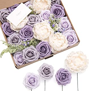 Ling's moment Artificial Flowers Combo for DIY Wedding Bouquets Centerpieces Arrangements Party Baby Shower Home Decorations-Dusty Violet