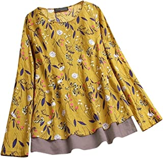 SayahWomen Oversize Linen Patterned Fake Two Tops Blouse Tunic