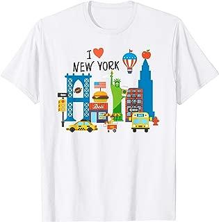 I love New York City NY Icons Souvenir Gift for Kids Shirt