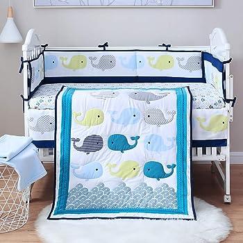 SpringBaby Crib Bedding Set for boy, Girl, 8-Piece 100% Soft Organic Natural Cotton Baby Bedding Set, Portable Standard Crib Bedding Set, Whale Crib Bedding Set, Baby Blue Crib Bedding Set