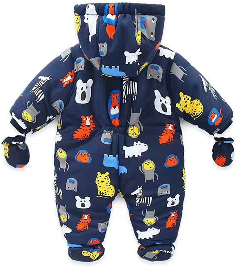 JiAmy Baby Winter Hooded Romper Snowsuit with Gloves Booties Jumpsuit Outfits for 3-24 Months