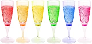 FAMI 6 Glasses LED Wine Champagne Light Up Glasses Champagne Flute Cups Liquid Activated (6 Different Colors Cup)