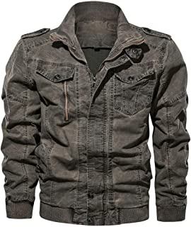 Landscap Mens Leather Jacket Slim Fit Stand Collar Motorcycle Jacket Multi-Pocket Thickening Coat Outwear Plus Size