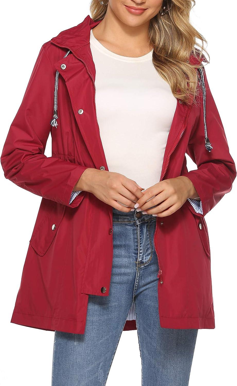 UUANG Rain Jacket Women Waterproof with Lined Raincoat Outdoor Active Travel Hiking S-XXL