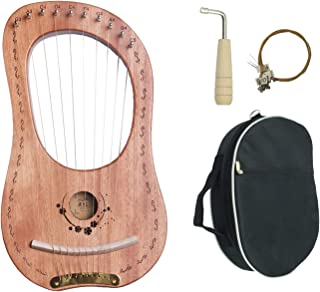 Lyre Harp, 10 Metal String Mahogany Plywood Body String Instrument with Tuning Wrench and Carry Bag