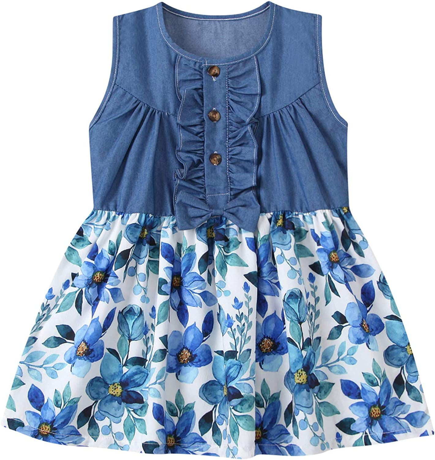 Shan-S Toddler Kid Baby Girl Top Denim Sleeveless Dress Princess Cheap Spring new work one after another