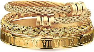 دستبند مردانه WFYOU 3PCS فولاد ضد زنگ مردانه دستبند رومی شمعی دستبند پیچ خورده دستبند قابل تنظیم دستبند دستبند مردانه دستبند طلا و جواهر لوکس هدیه