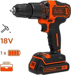 BLACK+DECKER BDCHD18K-QW - Taladro percutor 18V, 2 velocidades, incluye batería de litio 1.5Ah y maletín