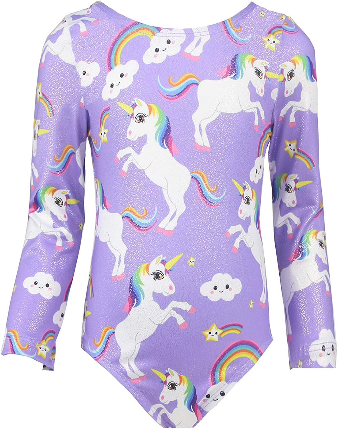 Midout Girls Long Sleeve Gymnastics Leotards Sparkly Unicorn Dancewear Activewear for Kids 29T Quick Dry