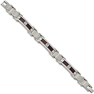 Men's Brushed Stainless Steel, Brown IP Cable Diamond Bracelet, 8.5