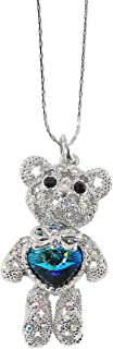 MOONSTONE Fashion Pendant For Women Sterling Silver Adorable Teddy Bear Swarovski Crystal Elemants Chain, Crystal Bermuda ...