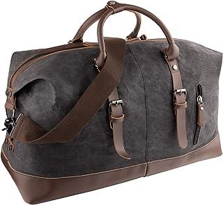 GENESS Große Reisetaschen, Leder Wochenend Tasche, Unisex Vintage Handgepäck Seesack, Vintage Handtasche Sporttasche, Segeltuch Wasserdicht Reisegepäck Schultertasche Umhängetasche Schwarz