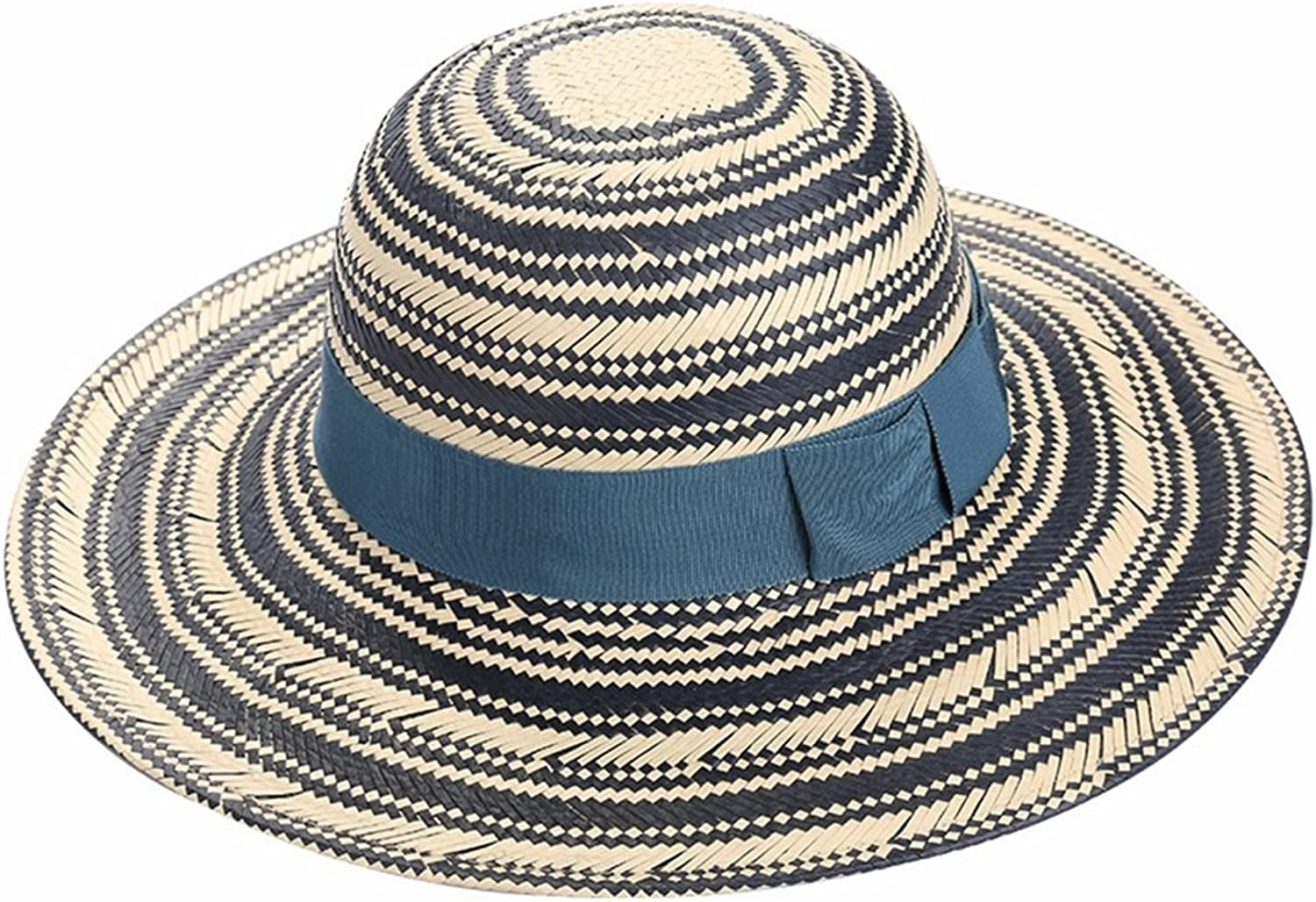 LBY Hat Female Summer Casual Classic Straw Hat Fashion Trend Sun Hat Female Small Hat Travel Sun Hat Sun Hats (color   This Room bluee G32 G45, Size   M(5658cm))