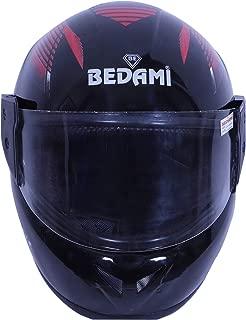 Bedami DJ-0001 Wiz Reflective Full Face Helmet (Large 580 MM, Red with Plain Visor)