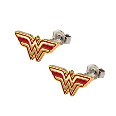 DC Comics WONDER WOMAN W Logo Red/Gold Stud EARRINGS