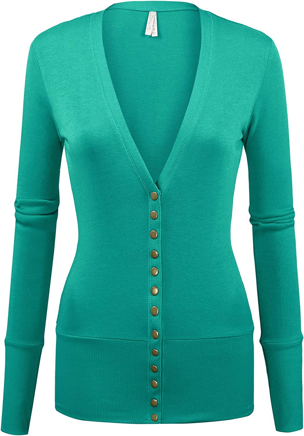 COLOR STORY Women's Basic Long Sleeve Snap Button Down Solid Color Knit Sweater Cardigan
