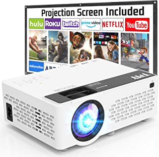 TMY Projector with 100 Inch Projector Screen, 1080P Full HD Supported Video Projector, Mini Movie Projector Compatible wit...