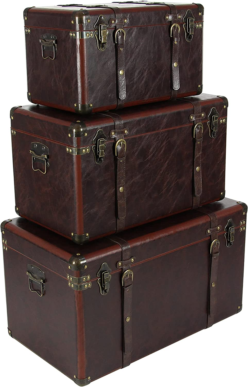 Deco 79 56977 Matte Leather All stores are sold and of Wood Set Brown Trunks 3 Long-awaited
