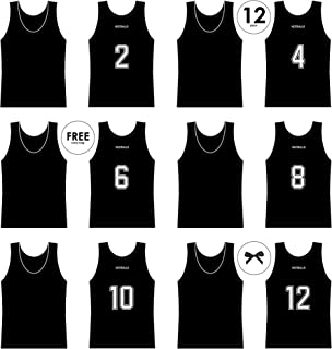NEXTBALLR Jerseys Pinnies Vests for Basketball Soccer Sports – Game Practice Scrimmage – Adult Teen Youth with Bold Back Numbers – Customizable Tank Tops - Lightweight Mesh Bib - Black Large 12 Pack