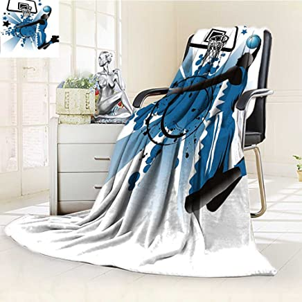 YOYI-HOME Twin Size Bed Duplex Printed Blanket s Super Soft Teen Room Decor Silhouette of Basketball Player Jumping Success Stars Black Violet Blue Fleece Blanket for Bed or Couch/W39.5
