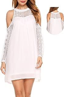 Womens Cold Shoulder Hollow Lace Long Sleeve Patchwork Top Shirt Dress Chiffon Dress