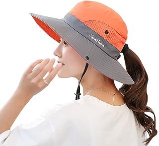ead4bd7898f73 Muryobao Women s Outdoor UV Protection Foldable Mesh Wide Brim Beach  Fishing Hat