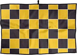 ZHXR Yellow Black Chessboard Microfiber Golf Towel Breathable Sports Towel Quick Dry Towel 15 X 24 Inch Cleaning Towel