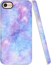 A-Focus Case for iPhone 7 Case Blue, iPhone 8 Case for Girls, Purple Violet Blue Galaxy Frosted Anti Scratch Flexible Protective Silicone Cover Case for iPhone 7 iPhone 8 Matte Blue 4