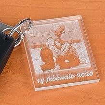 Portachiavi in plexiglass personalizzato con foto incisione e scritta formato piccola foto polaroid