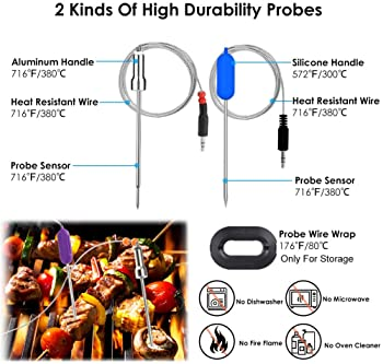 Wireless Meat Thermometer, Bluetooth Meat Thermometer For Grilling Digital BBQ Cooking Thermometer with 6 Probes, APP...
