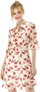 Women's Casual Chiffon Floral Fit and Flare Dress