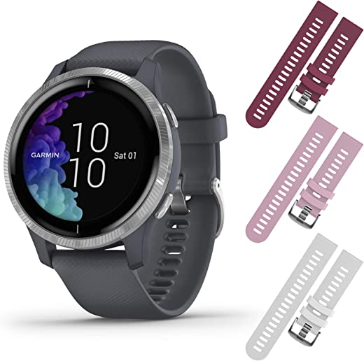 Garmin Venu GPS Smartwatch with AMOLED Display and Included Wearable4U 3 Straps Bundle (Light Sand/Rose Gold, White/Pink/Berry)