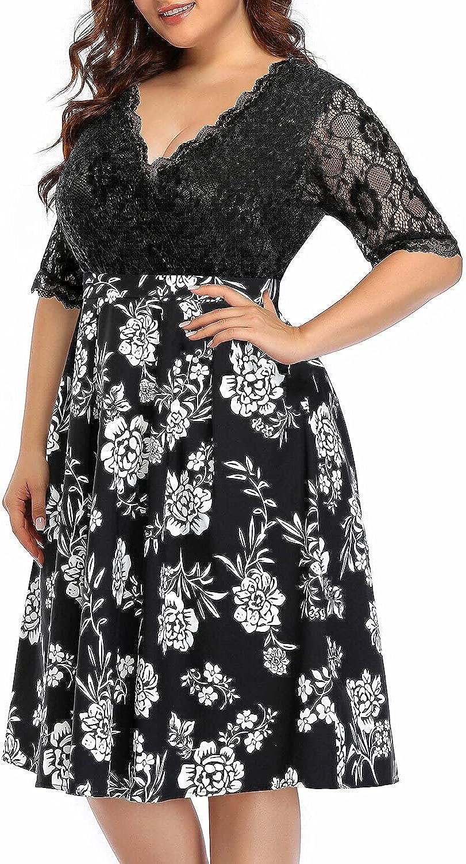 Pinup Fashion Women's Plus Size Wedding Guest Dresses Floral Lace Fit&Flare Knee Length Dress