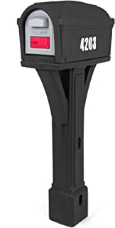 Simplay3 Classic Plastic Residential Mailbox & Post Mount Combo Kit with 2 Access Doors - Black