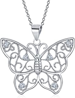 Bling Jewelry Grande Filigrana Cubic Zirconia CZ Giardino Ciondolo Farfalla Collana per Donne per La Teen Argento 925