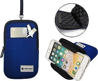 Tainada Men Women Neoprene Universal Multi-Purpose Shockproof Soft Bubble Padded Zippered Sleeve Case Bag Wristlet Phone Pouch with Carabiner, Detachable Neck Lanyard Strap, Belt Loop Holster (Blue)