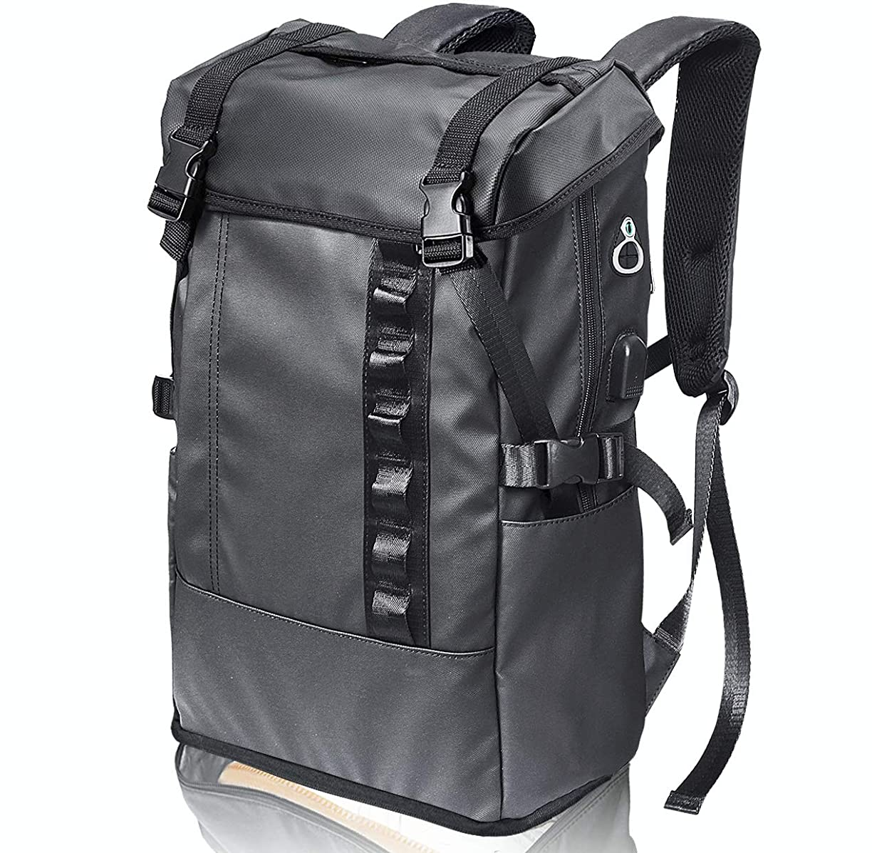 バルーン開拓者修理可能PEYNE リュック メンズ スクエアリュック バックパック - 2層式 拡張機能 大容量 スクエア リュックサック, 靴/弁当収納 スクエアバックパック, 全撥水加工 防水 キャンバス リュック,A4収納 多ポケット USBポート付き 15.6インチ PC ビジネスリュック,40L outdoor 通勤 修学 旅行 学生 ブラック バッグ, 多機能 通気性 黒 スクエアリュック