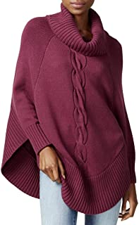 Maison Jules Womens Cable Knit Turtleneck Poncho Sweater
