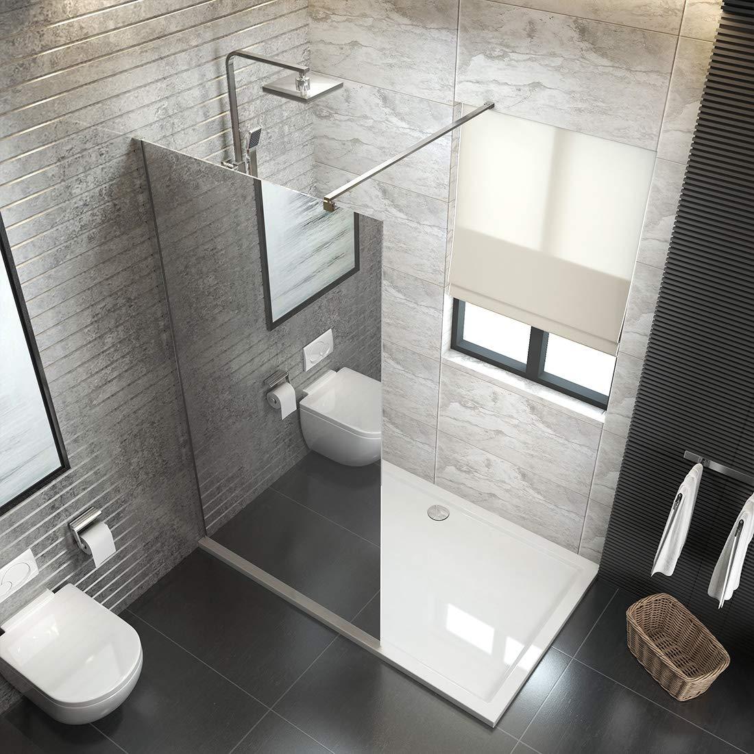 düravak ducha Walk In Mampara de ducha (Cristal de 6 mm Nano Leche Frosted Espejo Cristal separador con barra de estabilización: Amazon.es: Bricolaje y herramientas