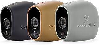 3 x Fundas de Silicona para Arlo Smart Security – cámaras 100% inalámbricas de Wasserstein (Arlo HD Negro/Marrón/Gris)