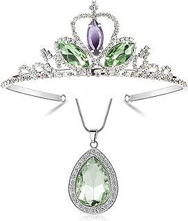 Mermaid Theme Cartoon Princess Tiara & Necklace Jewelry Set Girls Costume Rhinestone Birthday