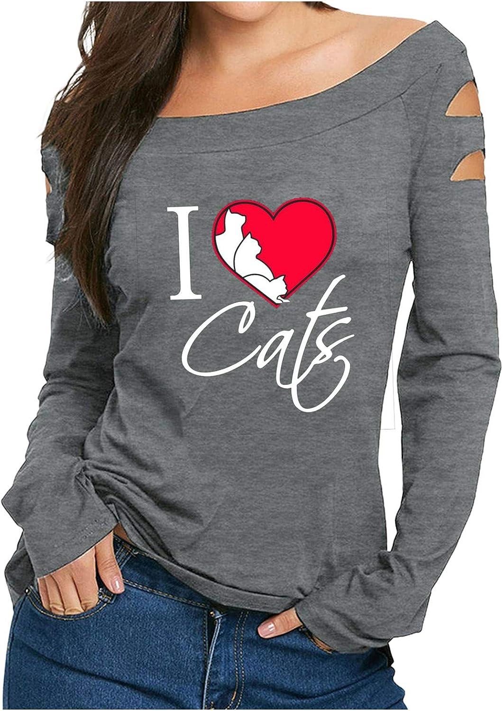 XIAOYUER Damen Pullover Off Schulter Sweatshirt Langarm Beste Freunde Pullover f/ür Frauen Mit Motiv Love Cat Print mit O-Ausschnitt Langarm T-Shirt Bluse Tops