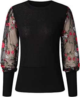 Womens Tops and Blouses Women O-Neck Long Sleeve Floral Embroidery Sheer Mesh Insert Top Blouse Women Tops Shirts Tee (Col...