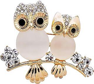 Mingtongli Ragazze Animale della Lega di Cristallo Breastpin Donne Doppia Owl Strass Spilla Pin Matrimonio Regalo di Compl...