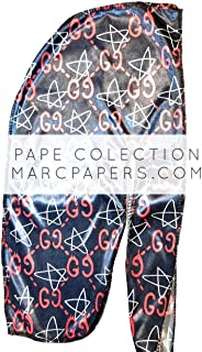 Pape Collection | Premium Luxury Silk Material | Designer Durag for Men | Dark Blue & Red Gucci Print | 100% Super Stretchy Elastic | Seamless Stitches | Luxury Fashion Design | Perfect for 360 Waves