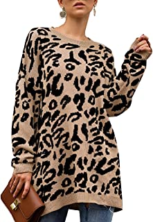 Womens Leopard Print Pullover Oversized Crew Neck Casual Knitted Sweater Tops S-2XL