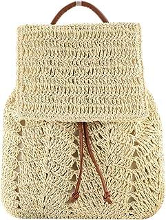 حقيبة ظهر من القش من شيري فاشون للنساء برباط للكتف حقائب شاطئ بوهيمية