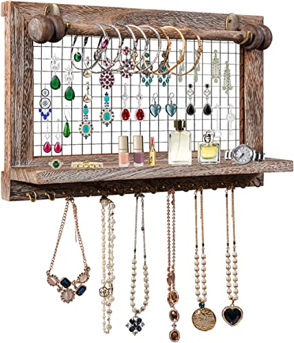 discount CHARMAID Rustic Jewelry Organizer Wall Mounted, Wooden Wall Mount Jewelry Holder Display with Bracelet Rod, for Earrings, Necklaces, and lowest Many Other Accessories, outlet online sale Wall Hanging Jewelry Organizers outlet sale