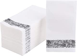 Foraineam 100 Pack Disposable Hand Towels Linen-Feel Hand Napkins - Decorative Floral Paper Guest Towels